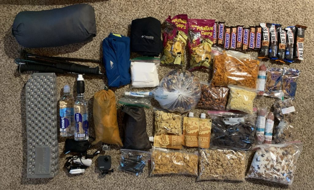 The gear and food I brought on the Long Trail, totally 27 pounds.