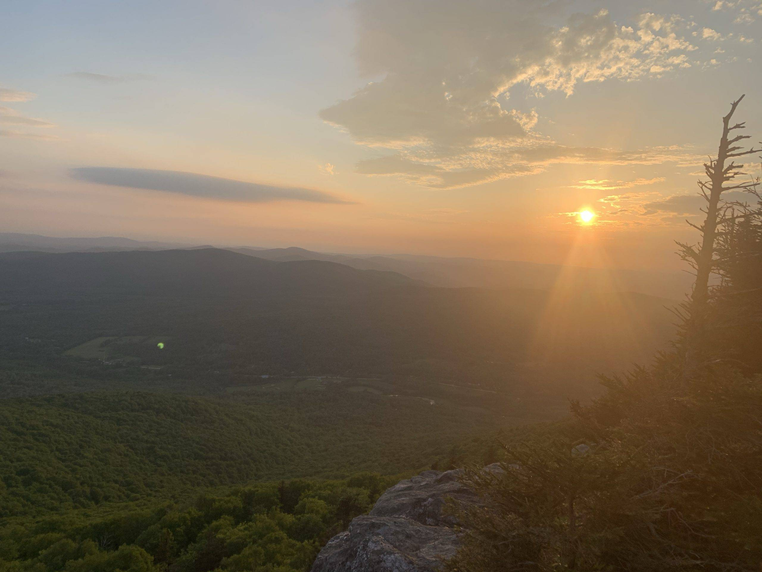 A beautiful sunset atop Laraway Mountain at the end of day 1.